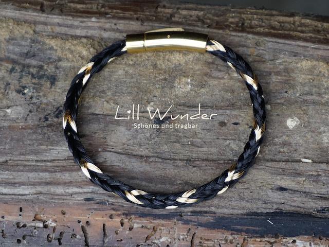 Eckig geflochtenes Armband aus Pferdehaar mit Golddraht Strähnen